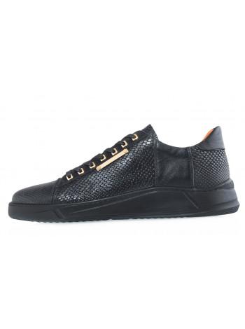 20619 JOHN RICHARDO 13511 BLACK кеды кожаные рептилия-черные