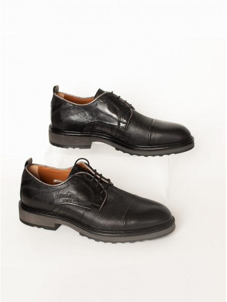 Туфли кожаные NERO GIARDINI (ИТАЛИЯ) 2898 черно-серые