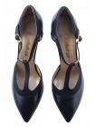 10063 SHOEBOOUTIQUE (Poland) Туфли открытые кожано-замшевые темно-синие