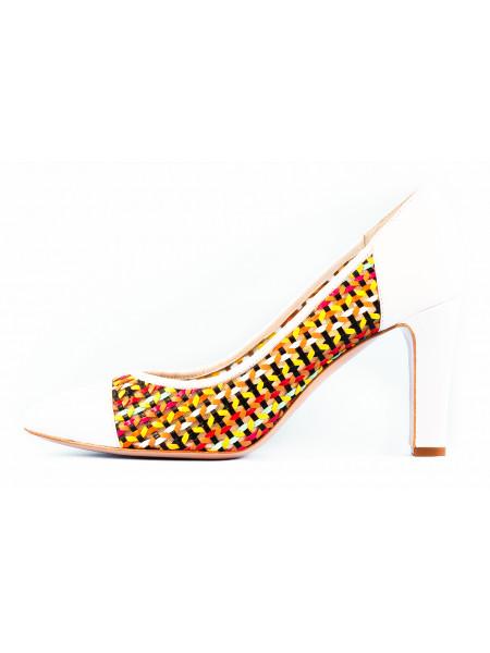 Туфли кожаные сетка 1,618 (ИТАЛИЯ) 10136 бело-разноцветные