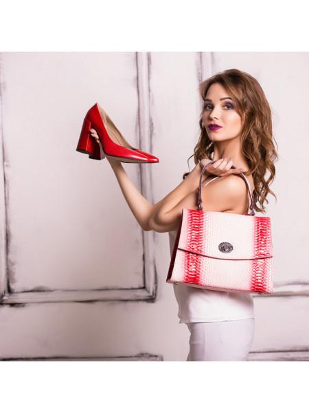 Туфли открытые кожаные NOE (ИТАЛИЯ) 10655 красные