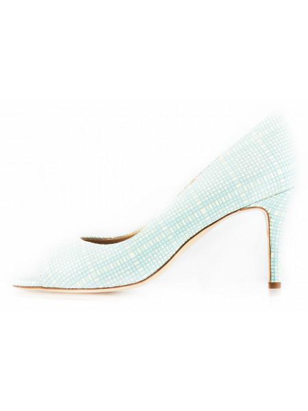 Туфли открытые замшево-лаковые 1,618 (ИТАЛИЯ) 10801 светло-зелено-бежевые