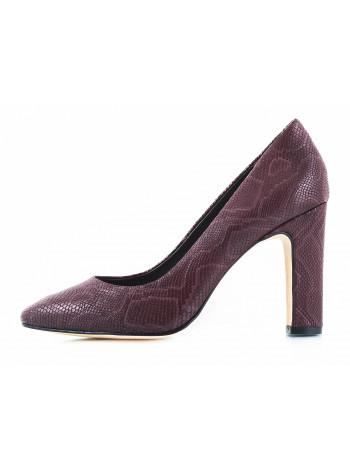 10959 INDIANA (Brazil) Туфли кожаные бордовые рептилия