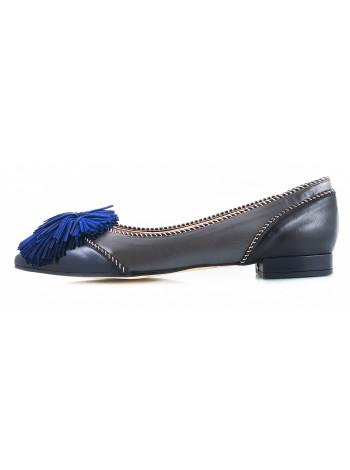 10968 LODI (Spain) Балетки кожаные серо-сине-черные