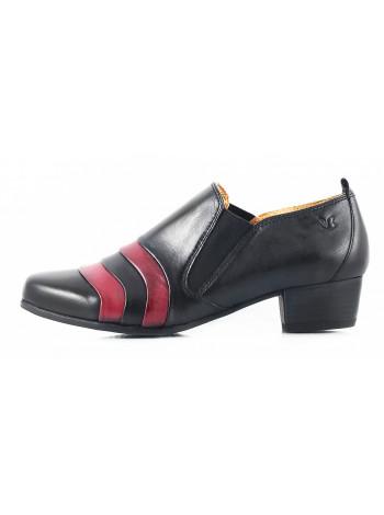 10998 CAPRICE (Germany) Полуботинки осенние кожаные черно-бордовые