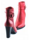 11084 INDIANA (Brazil) Ботильоны зимние кожаные красные