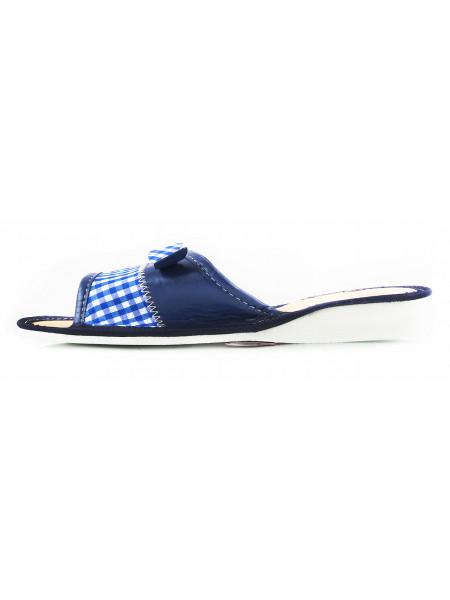 11127 JP (Poland ) Тапочки открытые кожано-текстильные синие