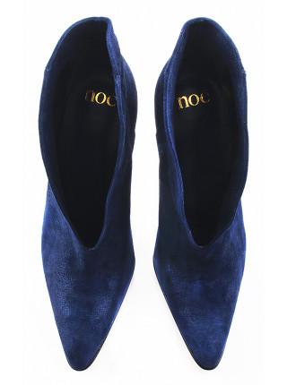11162 NOE (Italy) Ботильоны осенние замшево-лаковые синие