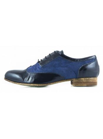 11169 NOE (Italy) Туфли кожано-замшево-лаковые темно-сине-синие