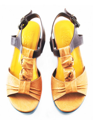 11310 HISTORY (Italy) Босоножки кожаные светло-коричнево-темно-коричневые на платформе
