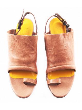 11311 HISTORY (Italy) Босоножки кожаные темно-бежево-темно-коричневые на платформе