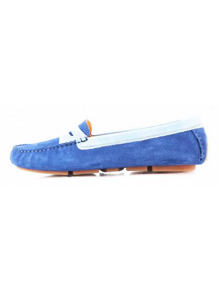 11322 GIANROS (Italy) Пенилоферы замшево-лаковые голубые