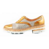 Туфли-оксфорды лаково-текстильные WONDERS (ИСПАНИЯ) 11419 золотистые