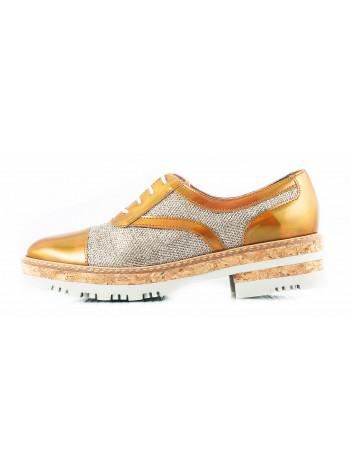 11419 WONDERS (Spain) Туфли-оксфорды лаково-текстильные золотистые
