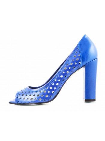 11453 NOE (Italy) Туфли открытые кожаные синие сетка сквозная