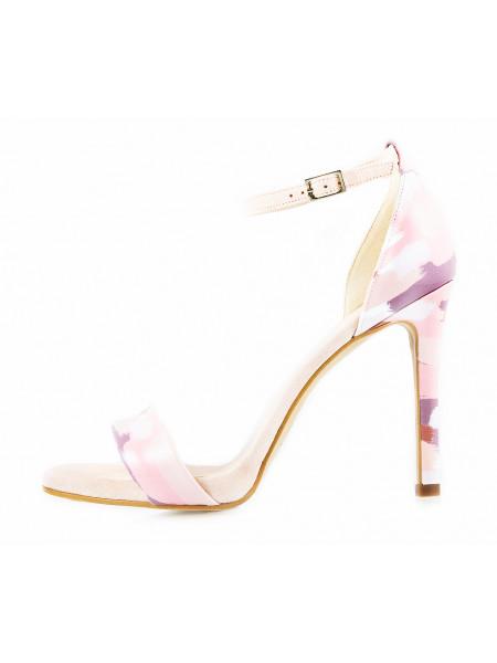 11475 LODI (Spain) Босоножки лаково-замшевые бежево-бело-серо-розовые