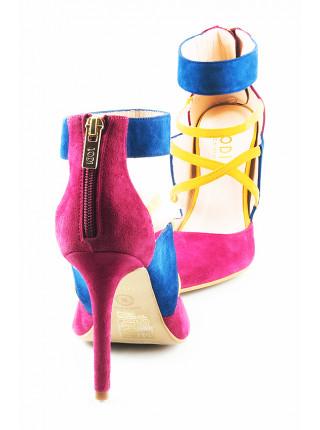11480 LODI (Spain) Туфли открытые замшевые фуксия-сине-желтые