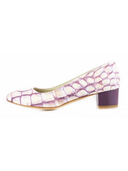 Туфли кожаные под рептилию BEFEETGERALD (ИТАЛИЯ) 11502 фиолетово-желтые