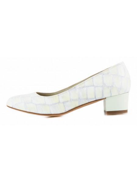 Туфли кожаные под рептилию BEFEETGERALD (ИТАЛИЯ) 11503 желто-серые