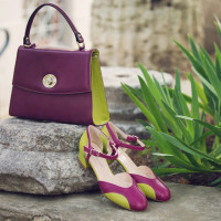 11511 BEFEETGERALD (Italy) Туфли открытые кожаные фуксия-салатовые