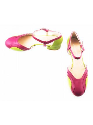 Туфли открытые кожаные BEFEETGERALD (ИТАЛИЯ) 11511 фуксия-зеленые