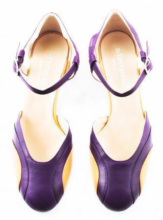 Туфли открытые кожаные BEFEETGERALD (ИТАЛИЯ) 11512 фиолетово-рыжие