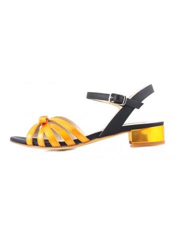 11558 BEFEETGERALD (Italy) Босоножки кожаные оранжево-темно-коричневые