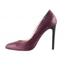11618 MARA COPPI (Poland) Туфли замшево-лаково-кожаные бордово-черные