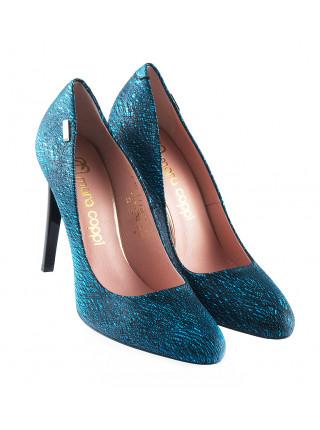 11619 MARA COPPI (Poland) Туфли замшево-лаково-кожаные бирюзово-черные