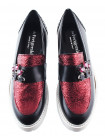 11643 BEFEETGERALD (Italy) Мокасины кожаные черно-бордовые