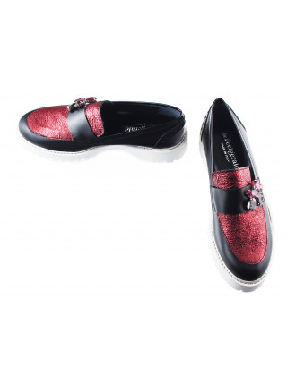 Мокасины кожаные BEFEETGERALD (Italy) 11643 черно-бордовые