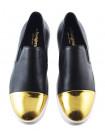 11665 BEFEETGERALD (Italy) Слипоны кожаные черно-золотистые