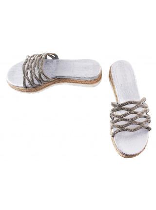 11671 PRODOTTO ITALIANO (Italy) Шлепанцы кожаные серебристые