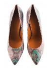 11829 BEFEETGERALD (Italy) Туфли замшево-лаковые светло-бежево-рыже-коричнево-зеленые рептилия