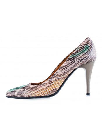Туфли замшево-лаковые под рептилию BEFEETGERALD (ИТАЛИЯ) 11829 светло-бежево-коричневые