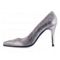 11833 BEFEETGERALD (Italy) Туфли замшево-лаковые серо-серебристые рептилия