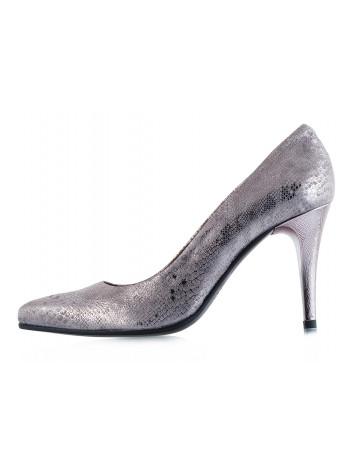 Туфли замшево-лаковые под рептилию BEFEETGERALD (ИТАЛИЯ) 11833 серо-серебристые
