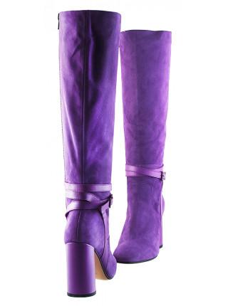 11848 BEFEETGERALD (Italy) Сапоги осенние замшево-кожаные светло-фиолетовые