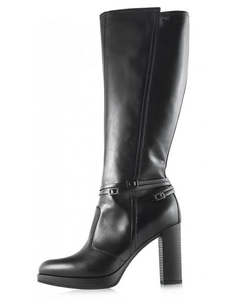 Сапоги осенние кожаные NERO GIARDINI (ИТАЛИЯ) 11901 черные