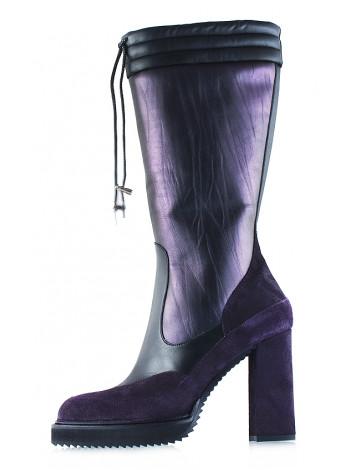 11959 REDA MILANO (Italy) Сапоги осенние кожано-замшевые черно-фиолетовые