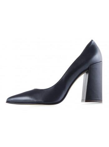 Туфли открытые кожаные NOE (ИТАЛИЯ) 11991 темно-синие