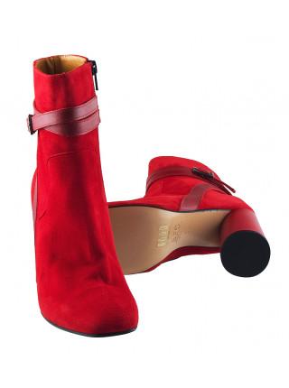 12060 BEFEETGERALD (Italy) Ботильоны осенние замшево-кожаные красные