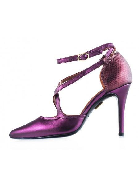 Туфли открытые кожаные J.J.HEITOR SHOES (Portugal) 12070 фиолетовые