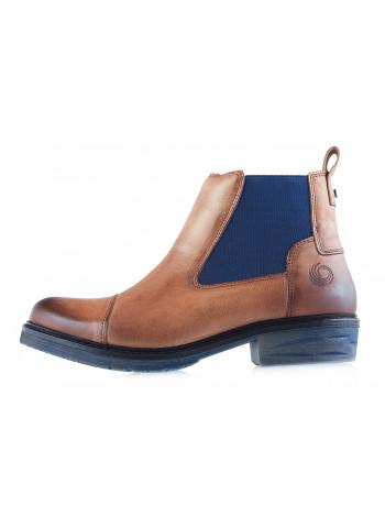 12075 JANA (Germany) Полуботинки осенние кожаные светло-коричнево-синие