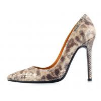 12083 BEFEETGERALD (Italy) Туфли замшево-лаковые коричнево-бежево-серебристые рептилия