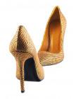 12085 BEFEETGERALD (Italy) Туфли замшево-лаковые золотисто-черные рептилия
