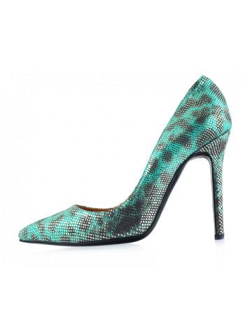 Туфли замшево-лаковые под рептилию BEFEETGERALD (ИТАЛИЯ) 12086 зелено-серо-серебристые