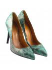 12086 BEFEETGERALD (Italy) Туфли замшево-лаковые зелено-серо-серебристые рептилия