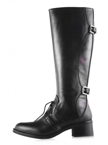 12102 EMANUELE CRASTO (Italy) Сапоги осенние кожаные черно-серебристые