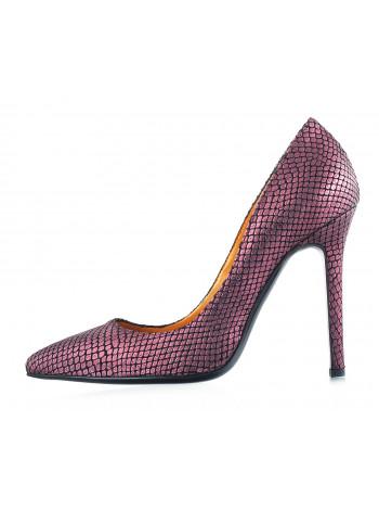 Туфли замшево-лаковые под рептилию BEFEETGERALD (ИТАЛИЯ) 12117 фиолетовые